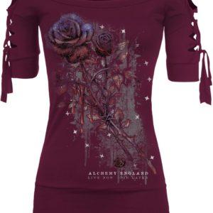 Comprar Alchemy England Kork Bleeding Rose Camiseta Mujer Burdeos