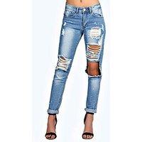 Comprar Jeans estilo boyfriend holgados con abertura en rodilla