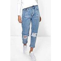 Comprar Jeans estilo boyfriend con abertura en rodilla en azul claro