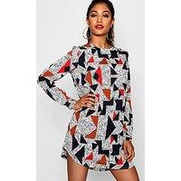 Comprar Vestido de corte recto con manga larga y estampado geométrico