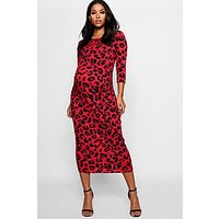 Comprar Maternity Leopard Print 3/4 Sleeve Midi Dress