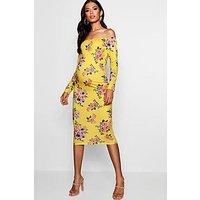 Comprar Vestido midi estilo Bardot con estampado floral Premamá