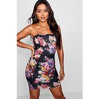 Comprar Vestido mini bandeau con estampado floral oscuro