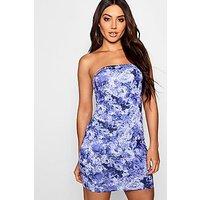 Comprar Vestido mini bandeau con estampado floral abstracto