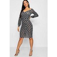 Comprar Polka Dot Off The Shoulder Rouched Sleeve Dress