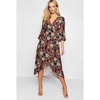 Comprar Floral Tie Waist Wrap Front Maxi Dress
