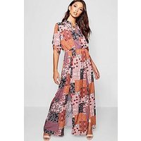 Comprar Bohemian Print Double Split Maxi Shirt Dress
