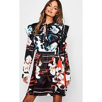 Comprar Mix Print Tie Neck Satin Skater Dress