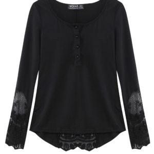 Blusa con manga de campana y encaje negro