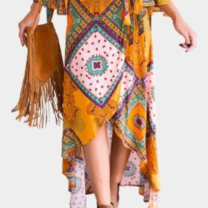 Falda maxi de cintura alta de impresión tribal amarilla