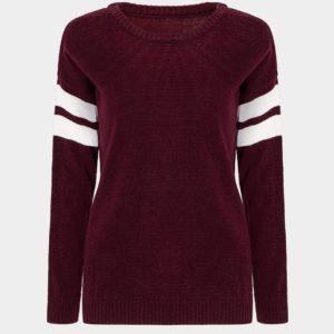 Suéter suelto con manga a rayas burdeos