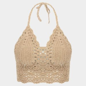 Beige Top Bralet con ganchillo Trim