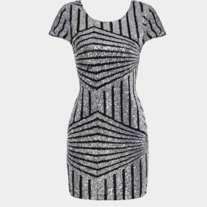 Vestido con espalda abierta de manga corta con lentejuelas geométricas plateadas