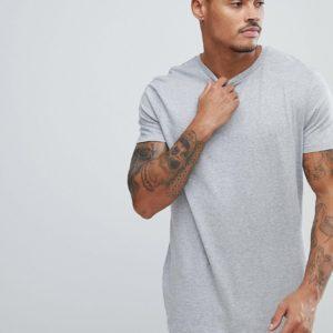 Comprar Camiseta larga con cuello redondo en gris de ASOS DESIGN