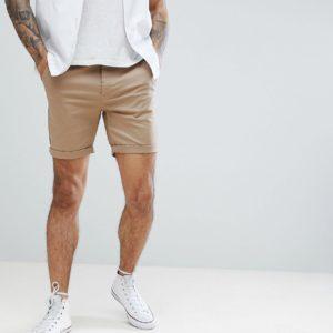 Comprar Pantalones cortos chinos de corte slim en color piedra de ASOS DESIGN