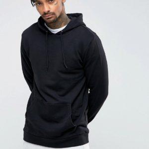 Comprar Sudadera larga negra con capucha de ASOS