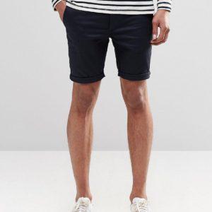 Comprar Pantalones cortos chinos superajustados en azul marino de ASOS