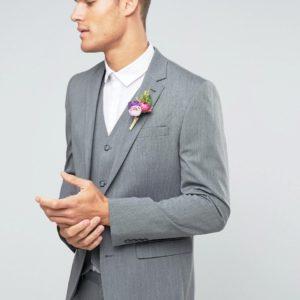 Comprar Americana de corte slim elástico en gris medio de ASOS WEDDING