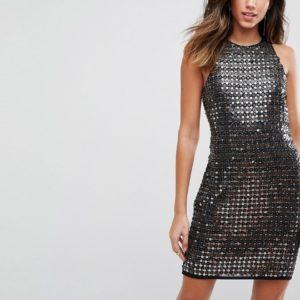 Comprar Minivestido en tejido de primera calidad con adornos en toda la prenda de ASOS