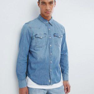 Comprar Camisa vaquera entallada de corte western y acabado lavado claro a la piedra Barstow Redcast de Levi's
