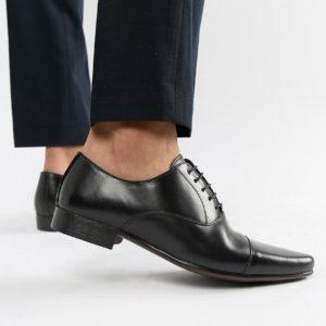 Comprar Zapatos Oxford de cuero negro con puntera de ASOS DESIGN