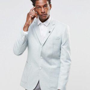 Comprar Americana de corte slim de tweed azul de ASOS