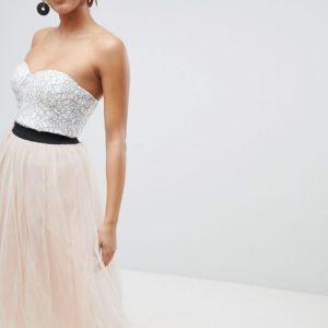 Comprar Vestido de graduación a media pierna de encaje con falda de tul de Rare London