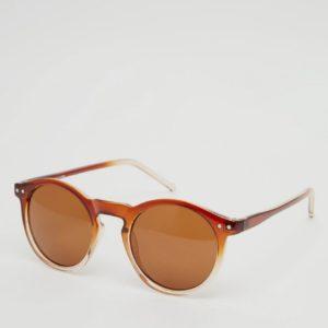 Comprar Gafas de sol redondas con detalle de abertura y montura degradada de marrón a transparente de ASOS