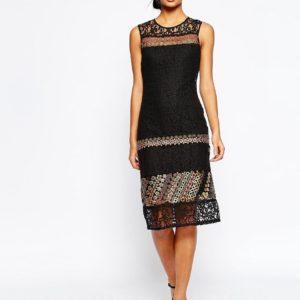 Comprar Vestido de encaje de corte recto con adornos de ASOS
