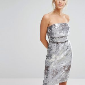 Comprar Vestido de tubo con capa superior de jacquard metalizado de Little Mistress