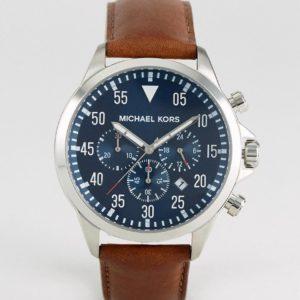 Comprar Reloj con correa de cuero marrón y cronómetro MK8362 Gage de Michael Kors