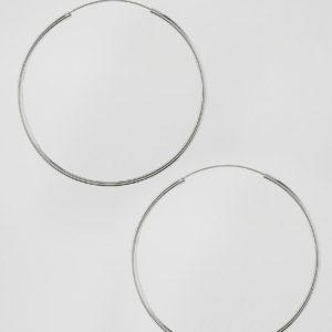 Comprar Pendientes de aro de 60 mm en plata de ley de ASOS DESIGN