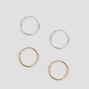 Comprar Pack de 2 pares de pendientes de aro de plata de ley con chapados variados de ASOS DESIGN