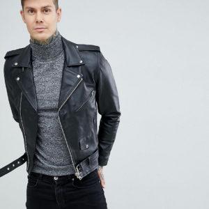 Comprar Chaqueta biker de cuero negro de Reclaimed Vintage Inspired