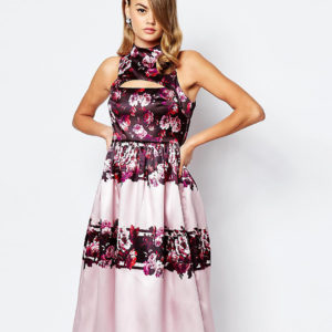 Comprar Vestido de graduación a media pierna en satén con corte completo y aberturas de True Violet