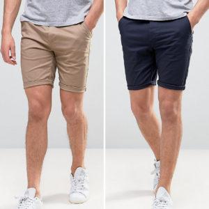 Comprar Pack de 2 pantalones cortos chinos ajustados en azul marino y gris piedra de ASOS DESIGN