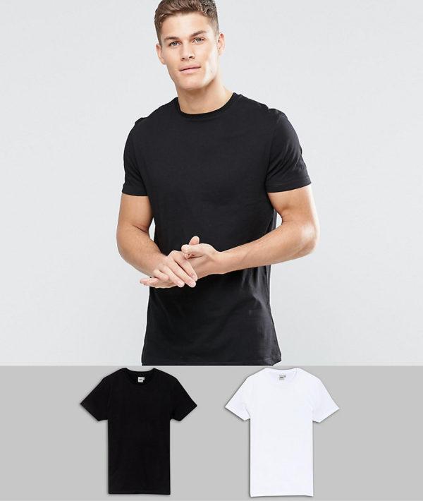 Comprar Pack de 2 camisetas largas en blanco/negro con cuello redondo de ASOS DESIGN