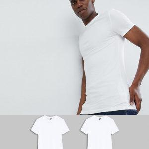 Comprar Pack de 2 camisetas ajustadas blancas con cuello redondo de ASOS DESIGN