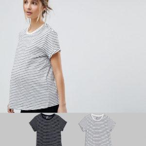 Comprar Pack de 2 camisetas sencillas a rayas de ASOS Maternity