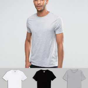 Comprar Pack de 3 camisetas de cuello redondo en blanco/negro/gris marga de ASOS DESIGN