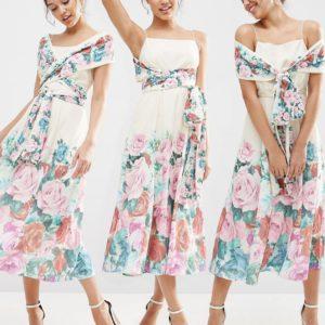 Comprar Vestido de graduación con diseño multiposición a media pierna con estampado floral Debutante de ASOS