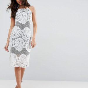 Comprar Vestido de encaje de corte recto con forro en contraste de ASOS
