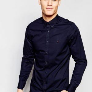 Comprar Camisa de popelina elástica de corte slim en azul marino de Tommy Hilfiger