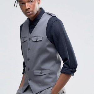 Comprar Chaleco ajustado en gris con detalle de bolsillo de parche de ASOS