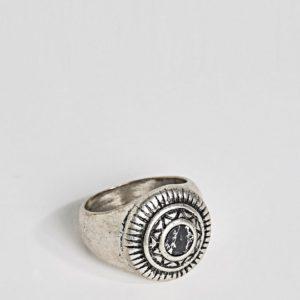 Comprar Anillo de sello con adorno de efecto piedra negra de ASOS DESIGN