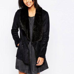Comprar Abrigo negro con solapa de piel sintética Laurie de Pepe Jeans