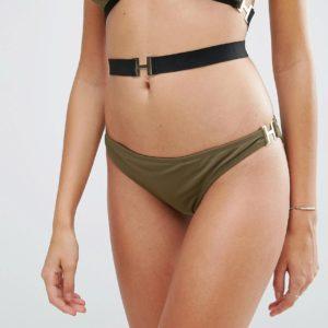 Comprar Braguitas de bikini brasileñas con diseño elástico y hebilla de ASOS DESIGN
