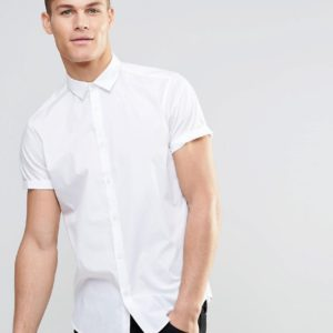 Comprar Camisa de vestir blanca de corte estándar y manga corta de ASOS