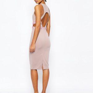 Comprar Vestido ajustado a media pierna de neopreno con espalda abierta y cintura adornada de ASOS