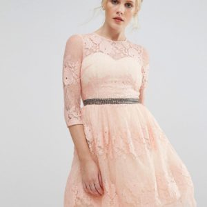 Comprar Vestido con detalle de encaje y cintura adornada de Little Mistress